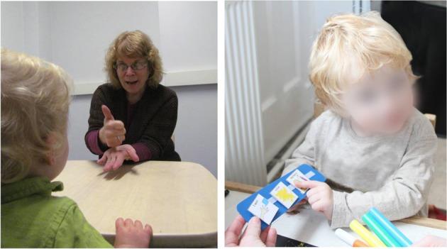 Comunicación Aumentativa y Alternativa intervenciones (AAC).  Enseñanza de idiomas para niños y terapeuta con leguaje de signos (izquierda). Imagen del sistema de Exchange Communication (PECS) formación (derecha) vs. leguaje de signos (SLT) que utiliza imitación conductista y métodos que prentenden enseñar a los niños a usar la mano, el brazo, la cara, y otras acciones del cuerpo para producir comunicaciones simbólicas. El Sistema de Comunicación por Intercambio de Imágenes (PECS) utiliza métodos conductistas para enseñar a los niños a repartir una o más imágenes en una variedad de socios de comunicación, con el fin de solicitar artículos / actividades, responder a preguntas sencillas, y comentarios.